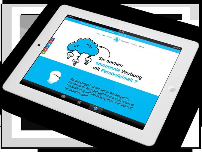 Webseite agentur pemotion auf IPad2 weiß